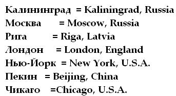 Chart with the spellings of Kaliningrad Russia Moscow Russia Riga Latvia London England New York USA Beijing China Chicago USA in Russian and English