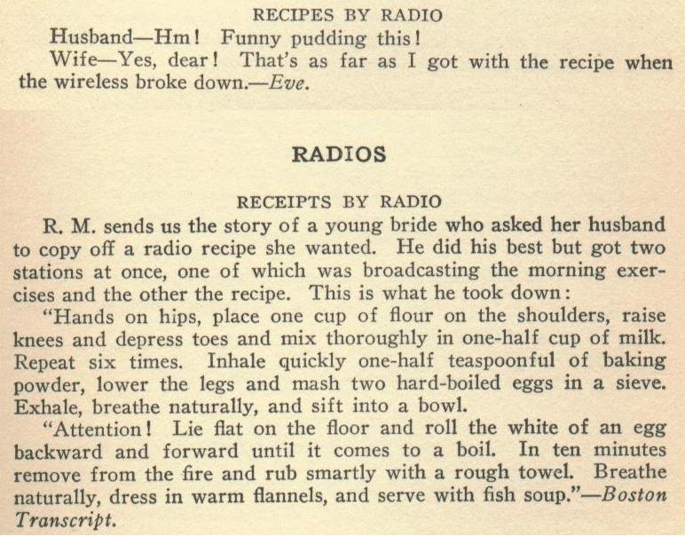 two jokes about getting cooking recipes by radio